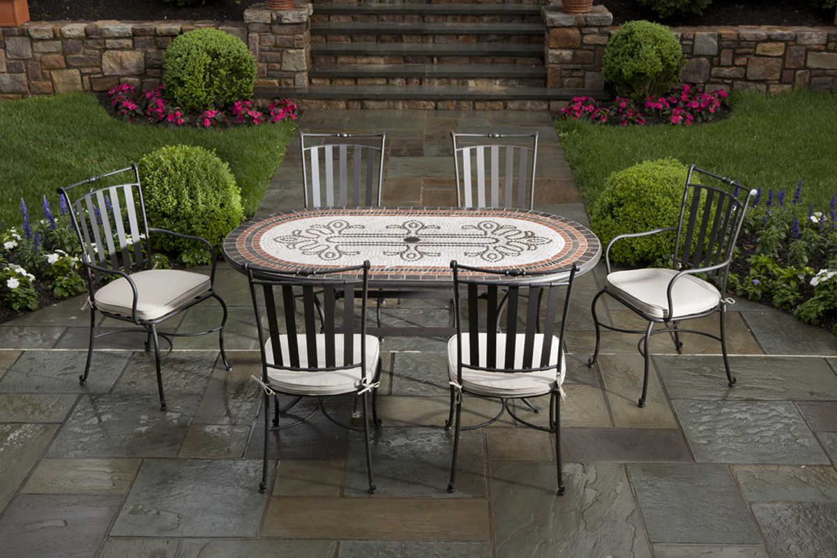 Orvieto 72u0027 Oval Marble Mosaic Dining Set With 6 Chairs And Table ...