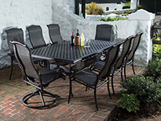 Barbados All Weather Wicker Dining Set with Rect. Dining Table 22-1304