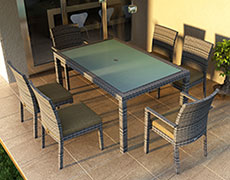 7 Pc. Urbana Dining Set - Weathered Stone HL-URBN-WS-7DS