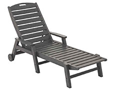 Nautical Wheeled Chaise with Arms - Stackable NCW2280