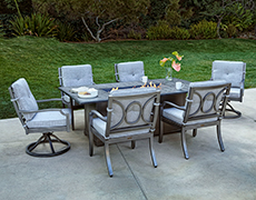 Aragon 7-Pc. Fire Pit Dining Table Set