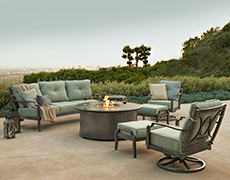 Aragon 7-Pc. Sofa Set with Round Fire Table
