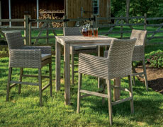 "Cornwall Woven Wood Bar Set with 36"" Square Table 46-3000"