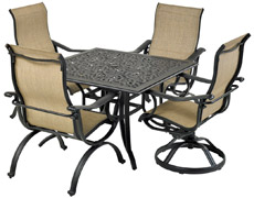 "Laguna 5-Piece Square Dining Set 44"" Dynasty SQDTDY44-LG1"