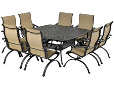 "Laguna 9-Piece Square Dining Set 64"" Monarch SQDTMN64-LG1"